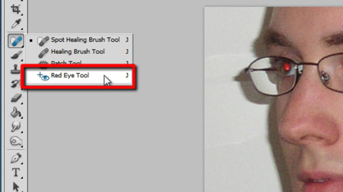 Selecting the Red Eye Tool