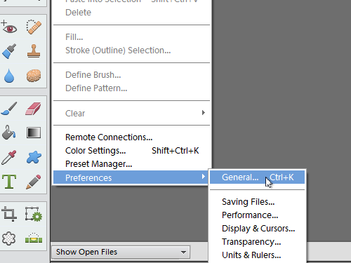 Open the General tab in the program preferences