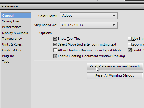 Reset the program preferences to preferences by default