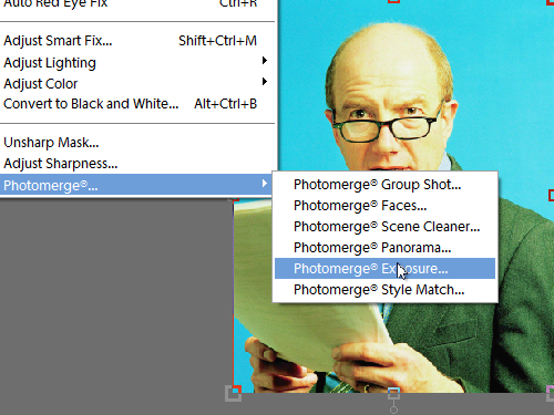 Open the Photomerge Exposure dialog box