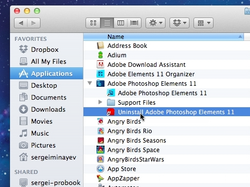 Click on the Uninstall Adobe Photoshop Elements icon