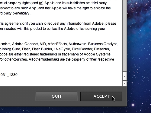Accept the Adobe Photoshop Elements license agreement