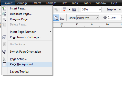 Open the Page Background dialog box