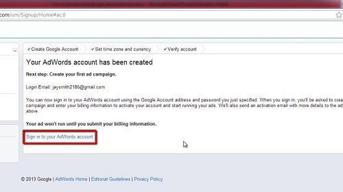 Accessing your AdWords account