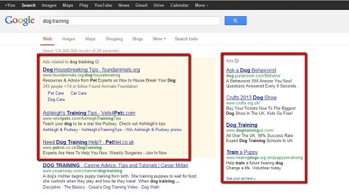 Adverts in Google