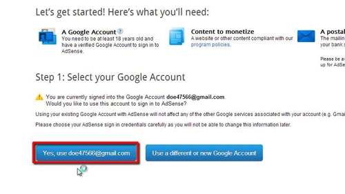 Using your account for AdSense