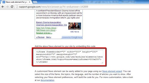 The HTML code to embed in your site