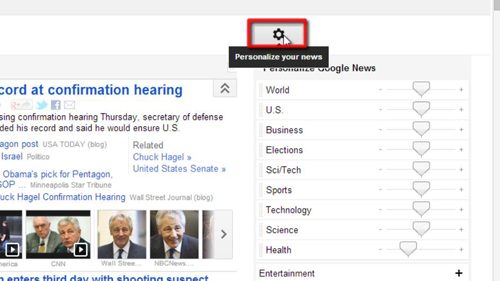 Opening Google News settings