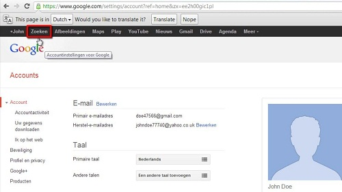 The Google interface in a different language