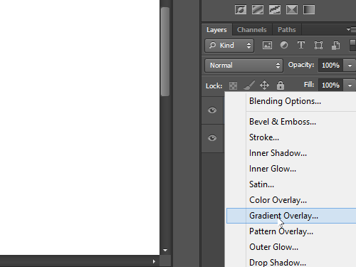 Choose the Gradient Overlay option