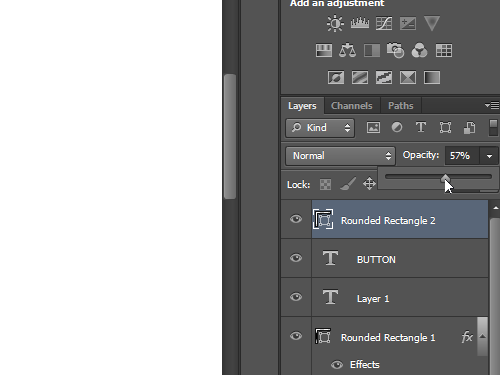 Set the opacity of the created rectangle with the slider
