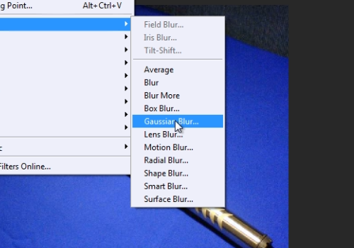 "choose ""Gaussian blur"""