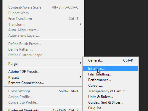 Open the Interface tab in the Adobe Photoshop preferences