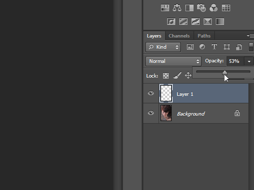 Set the layer opacity