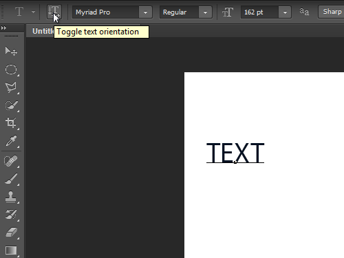 Make the text vertical with Toogle text orientation button