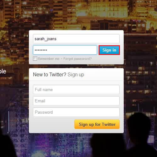 Sign into twitter