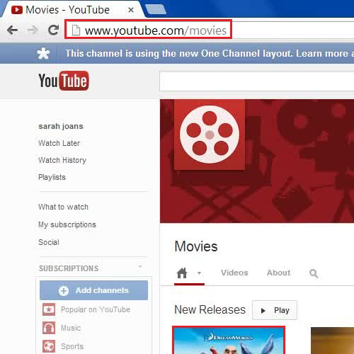 Open the Youtube movies section