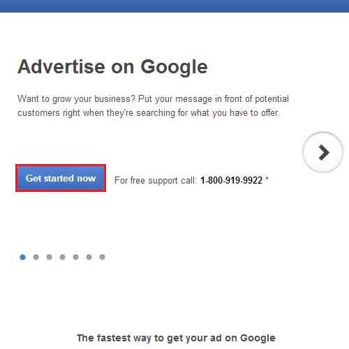 Open up the Google Adwords
