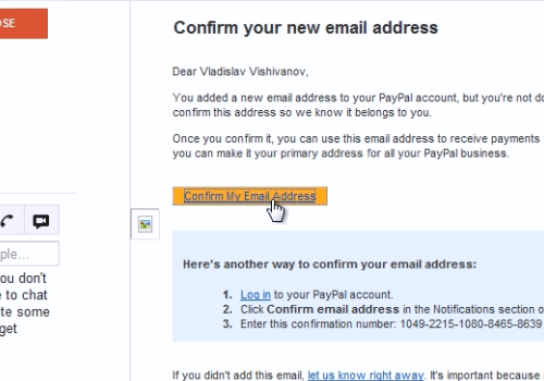 Confirm my email address