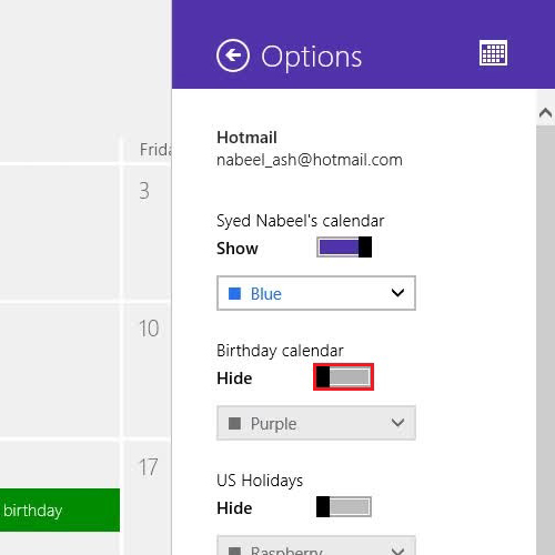 Disable birthday reminders of facebook