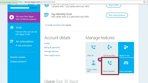 The get a Skype number option