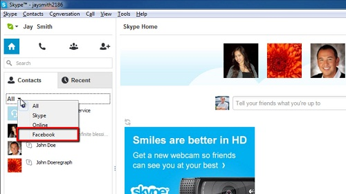 The Facebook option in Skype