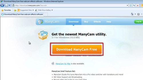 Download the Manycam application