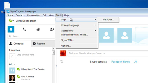Accessing the Apps area of Skype
