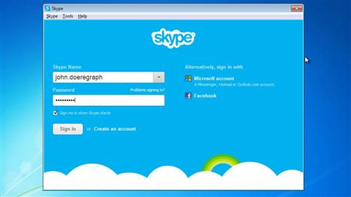 Signing into Skype