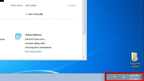 The notifications area in Windows 7