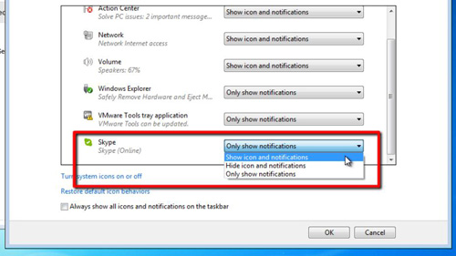 Choosing what notifications to get for Skype