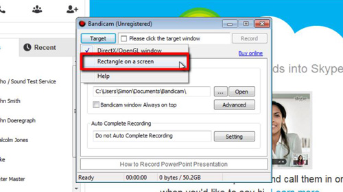 Selecting the type of recording in Bandicam