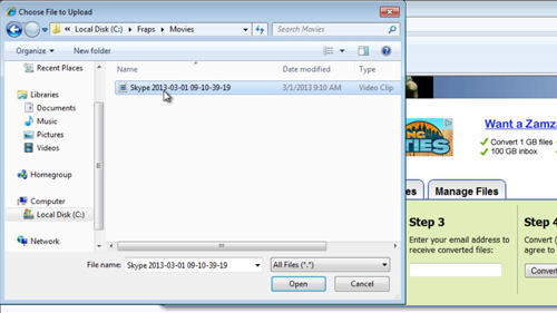 Uploading the file for MP3 conversion