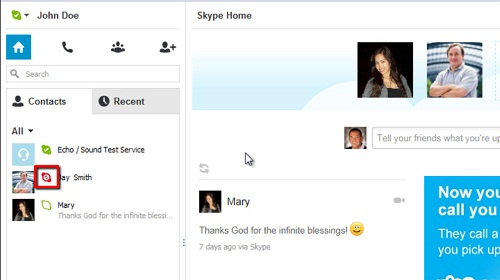 The contact you have previously blocked indicated by a red Skype logo