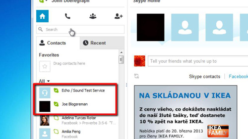Online contacts in the standard view