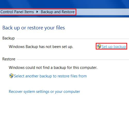 Go to the Backup and Restore option