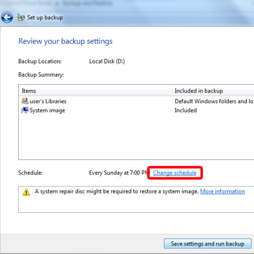 Review the settings for backup