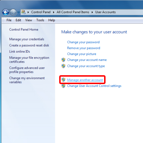 Manage other account option