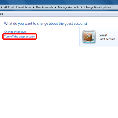 Disable guest account