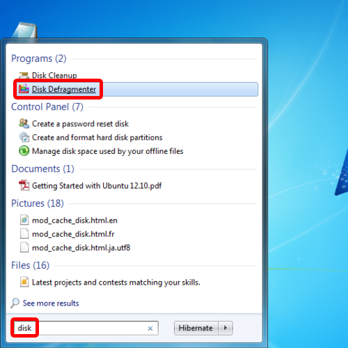 Search for disk defragmenter