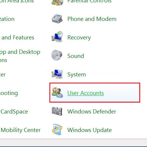 Go to the user accounts settings