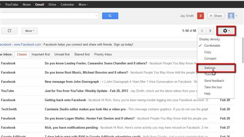 Opening the settings area of Gmail
