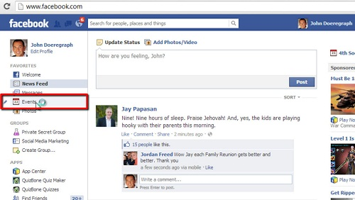 The events option in Facebook