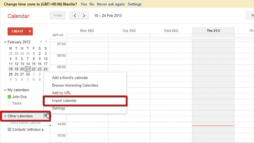 Importing the calendar