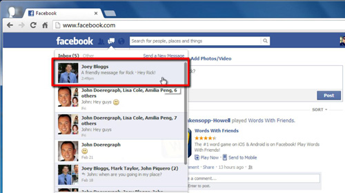 A message sent to your Facebook.com email address