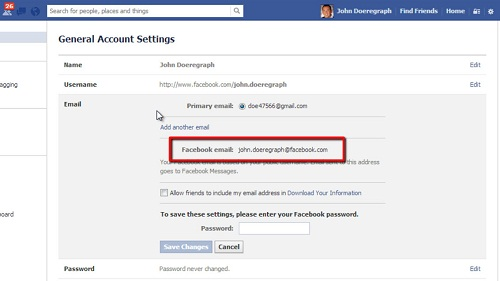 Viewing your Facebook email address