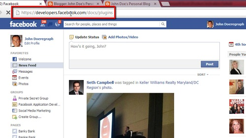 Accessing the developers area of Facebook