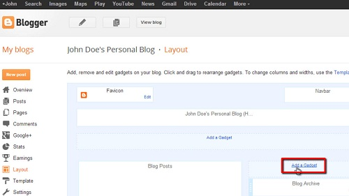 Adding the gadget Like button to your blogger page