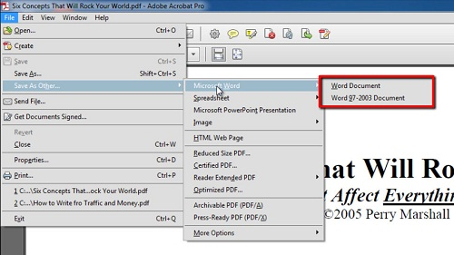 Choosing the Word document you want to create