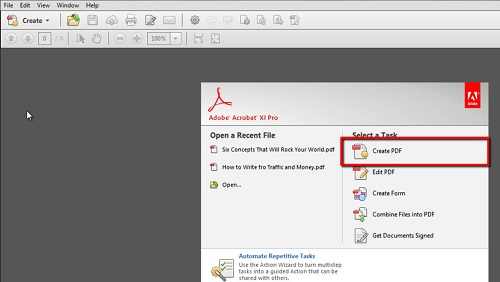 The create a new pdf option